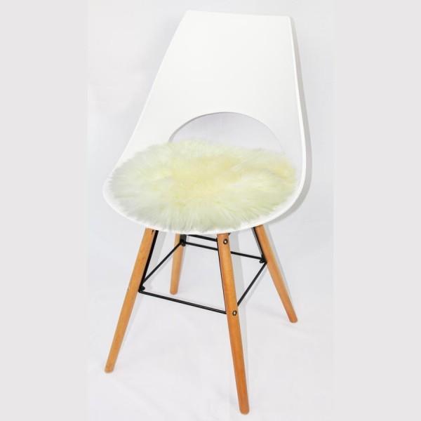 Runde Sitzauflage aus australischem Lammfell - Art. 406 WE, naturweiß