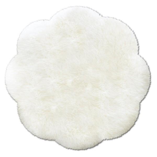 Art.-Nr. 145: runder Fellteppich aus austral. Lammfellen, naturweiss