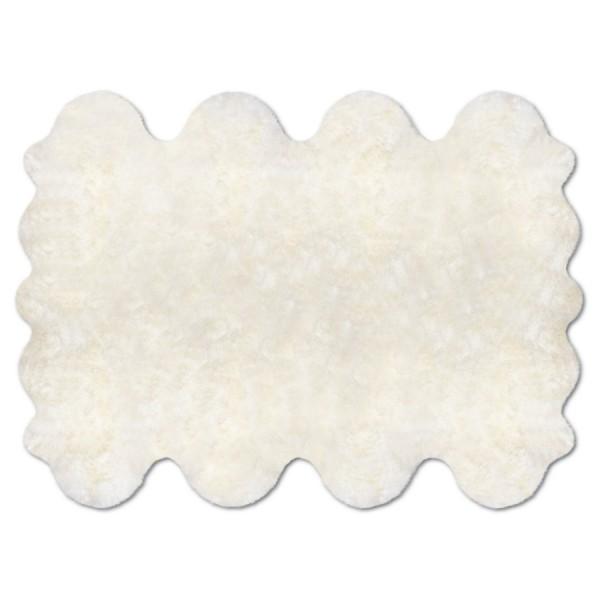 Art.-Nr. 196 - Fell-Teppich aus 8 Einzelfellen, Farbmuster naturweiß