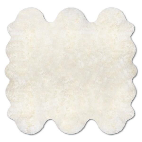 Art.-Nr. 193 - Fell-Teppich aus 6 Einzelfellen, Farbbeispiel naturweiß