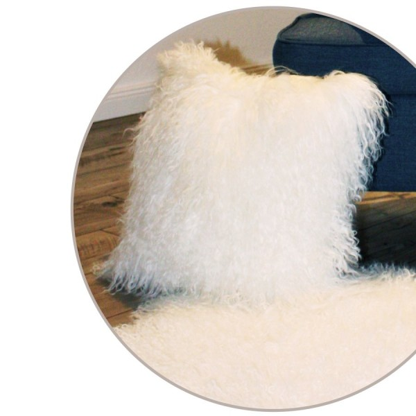 Art.-Nr. 409 - Tibetlammfell-Kissen, naturweiß