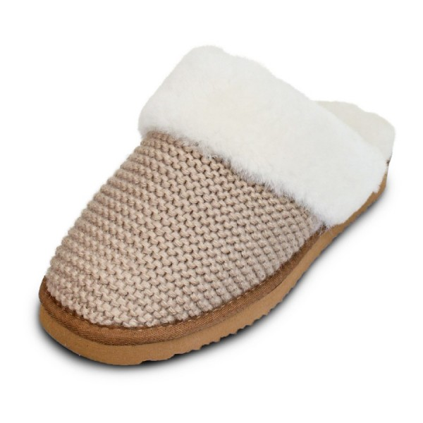 Art.Nr. 378 -  Damen Lammfell-Pantoffel mit Strickoptik, beige